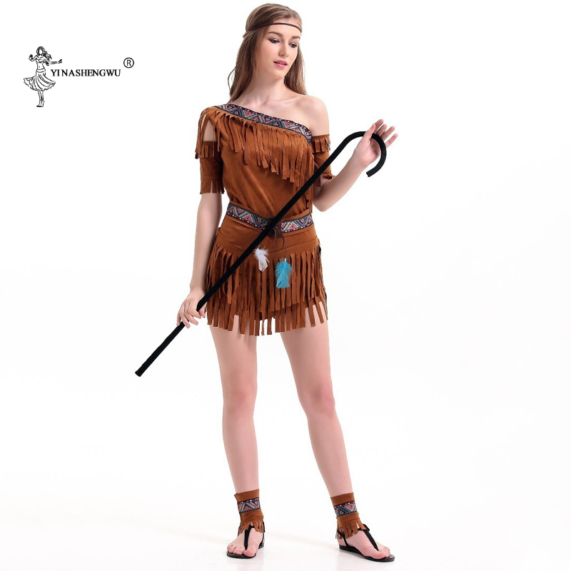 Halloween Women Indian Tribal Fringed Dress Cosplay Costume Party Sexy Lehenga Choli Native Indians Princess Tassel Indian Dress