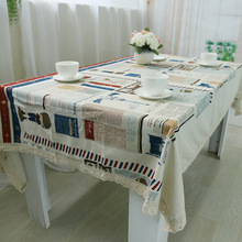 Europe Style Cotton Table Cloth Cartoon Tower Printed Rectangular Table Covers Party Tablecloth Nappe Mantel de mesa