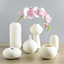 Ceramic Desktop Vase Ornaments Jewelry Creative Home Furnishing Small White Vase Decorated with Modern Art