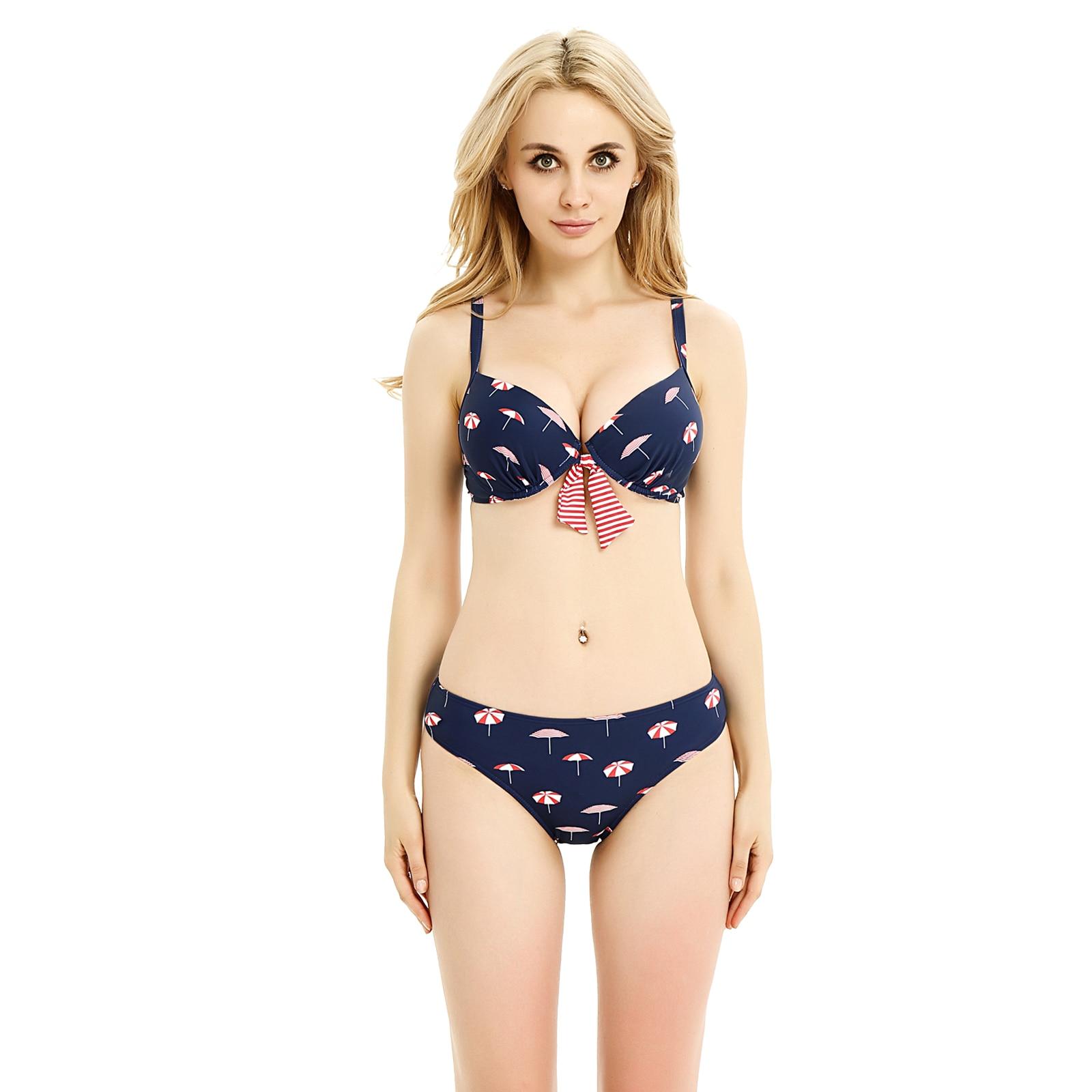 Umbrella Print Push Up Swimsuit Low Waist Bottom Bikini Set 2017 Sexy Swimwear Padded Beach Wear Bathing Suit Bow Center Biqunis<br><br>Aliexpress