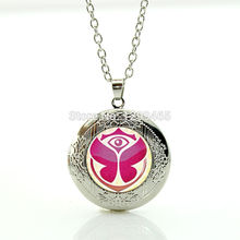 Summer style Electronic Music Festival Tomorrowland locket Necklace for music lover Glass locket pendant silver necklace WNK205