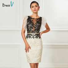Dressv scoop neck cocktail dress sheath appliques sashes knee length sleeves elegant cocktail dress formal party dress(China)