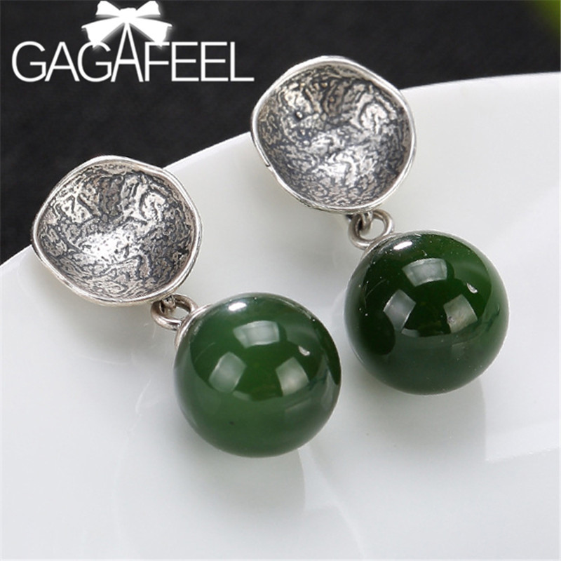 GAGAFEEL 925 Sterling Silver Lotus Flower Earrings Natural Green Stone Earrings Dangles for Women Semi-precious Stone Jewelry