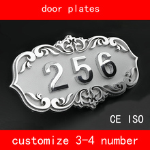 CE ISO House Number retro style Brone Like Gate Number 3 to 4 Numbers Customized Door Plate Apartment Hotel(China)