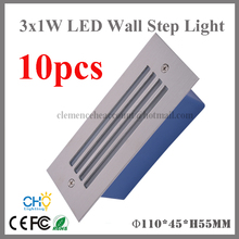 10pcs/lot Led Wall Corner Lamp 3W LED Recessed Step Stair Light Waterproof Basement Porch Pathway Bulb Warm White AC 85-265V(China)