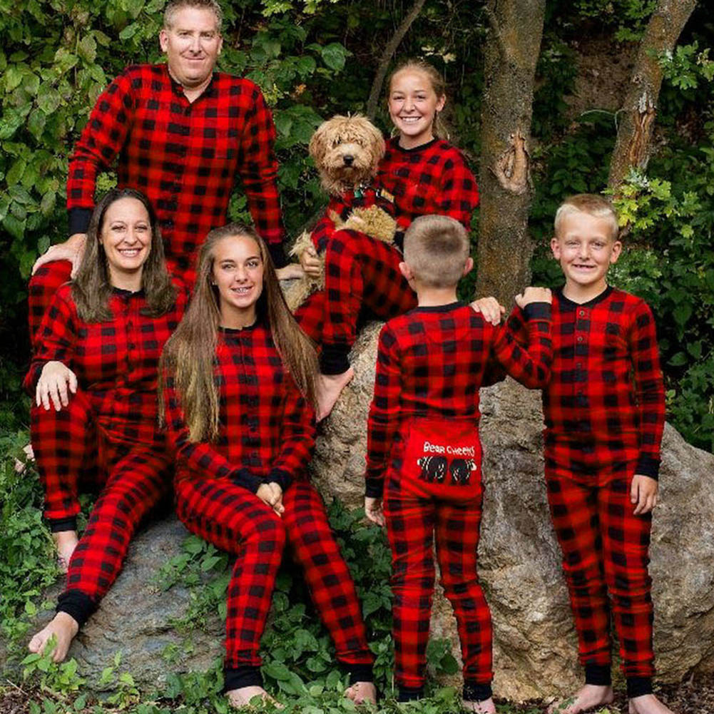 2018 New Red Plaid Clothes Set Family Matching Christmas Pajamas Set Xmas  Adult Mens Women Sleepwear Nightwear Tops+Pants  6e8f82b0d