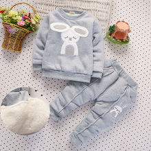 BibiCola Baby Girls Clothing Set Children Plus velvet Thicken 2pcs Winter Clothes Set Kids Sports Suit Toddler Warm Tracksuit(China)