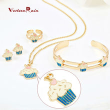 Cute Ice-cream kids jewelry sets Blue/Purple Necklace Earring Adjustable Ring Bracelet Jewelry for Baby Boy & Girls Gift A726(China)