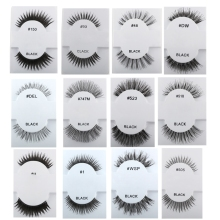 1 Pair Handmade Soft Human Hair Black Long Cross Thick Curl False Eyelashes Extension Full Strip Pro Fake Eye Lashes Makeup Tool