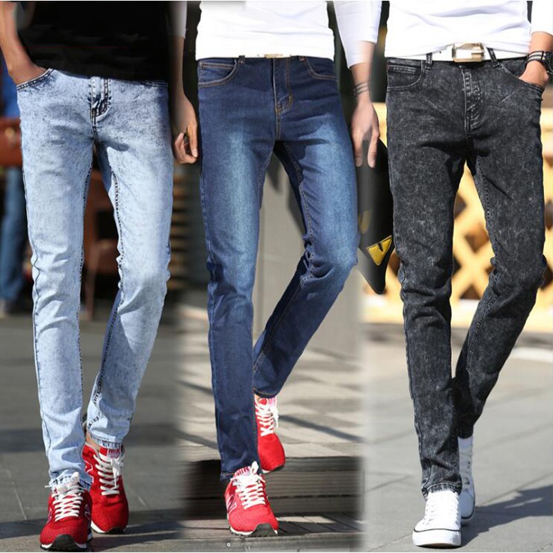 New Arrival Jeans Men Fashion Slim Pencil Pants Male Trousers Snow White Stretch Jeans For Young Man Boys Biker Motorcycle JeansОдежда и ак�е��уары<br><br><br>Aliexpress