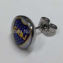 Boca Juniors Football Club Logo Ear Studs, accept OEM of client's design logo Ear Rings ,100 pcs/lot ,mix logo wholesale price(China)