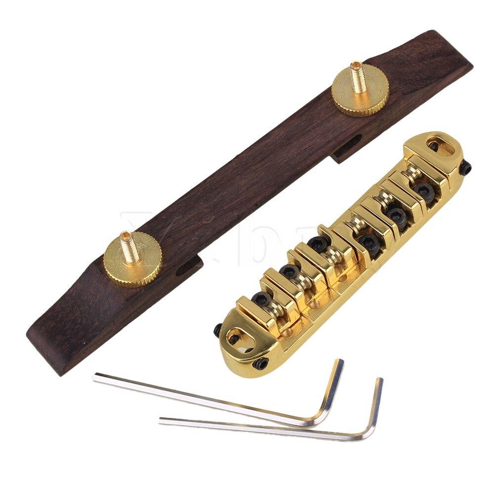 Yibuy Gold Roller Saddle Bridge Archtop Rosewood Base for Jazz Guitar 73mm<br><br>Aliexpress