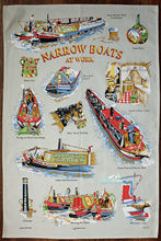 Narrowboat United Kingdom Souvenir Cotton Linen Kitchen Tea Towel