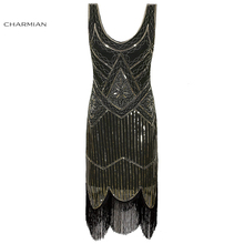 Women's 1920s Sexy Vintage Flapper Dress Sequin Beaded Elegant Retro Evening Party Club Wedding Bodycon Dress with Tassel Hem(China)