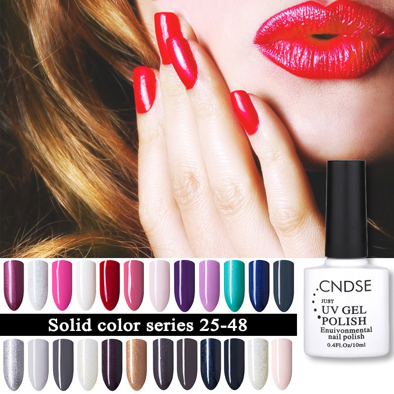 CNDSE 96 Solid Color Fashion Gel Nail LED UV Nail Gel Polish Soak Off Long Lasting LED Nail Polish Lacquer 10ML Gelpolish(China)