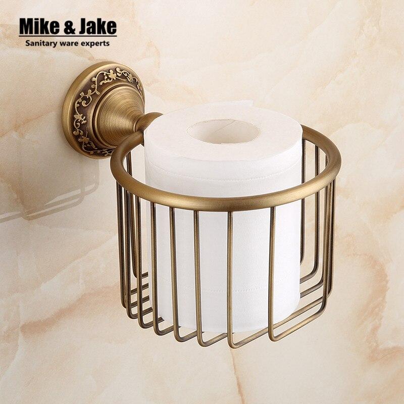 Antique brass flower paper towel rack Archaize porcelain paper holder European toilet paper box toilet accessories Paper holder<br>