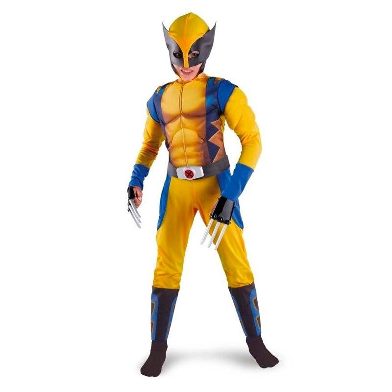 Promotion Boys X-man Logan Origins Marvel Superhero Halloween Costumes Kids Carnival Party Performance Cosplay Clothing
