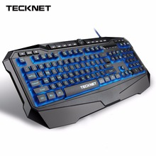 TeckNet Gryphon LED Illuminated Programmable 3 Colors Backlight USB Wired Gaming Keyboard with Water-Resistant Design, US Layout