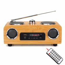 Home Tabletop Radio FM Stereo Handmade Bamboo Multimedia Speaker Classical Receiver USB With MP3 Player Remote Control Y4113O(China)