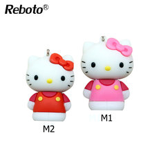 Reboto Newest Cute Mini Hello Kitty 8gb Novelty Usb Keyring Key Chain Memory Stick 4GB 8GB 16GB 32GB 64GB For PC