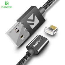 FLOVEME 1M Micro USB Magnetic Charger Cable Samsung Xiaomi Nylon Braided Data Sync Magnet Charging Adapter Android USB Cable