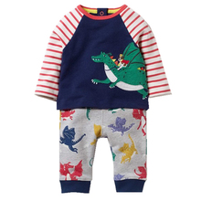 Baby Boys Clothes Animal Pattern Children's Sport Suits Kids Tracksuit 100% Cotton Thick Warm Boy Clothing Sets Hoodies+Pants(China)