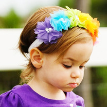 New Rainbow Children Grenadine Elastic Hair Band Colorful Headdress Flower Baby Hair Accessories Girl Headbands Infant Headwear(China)