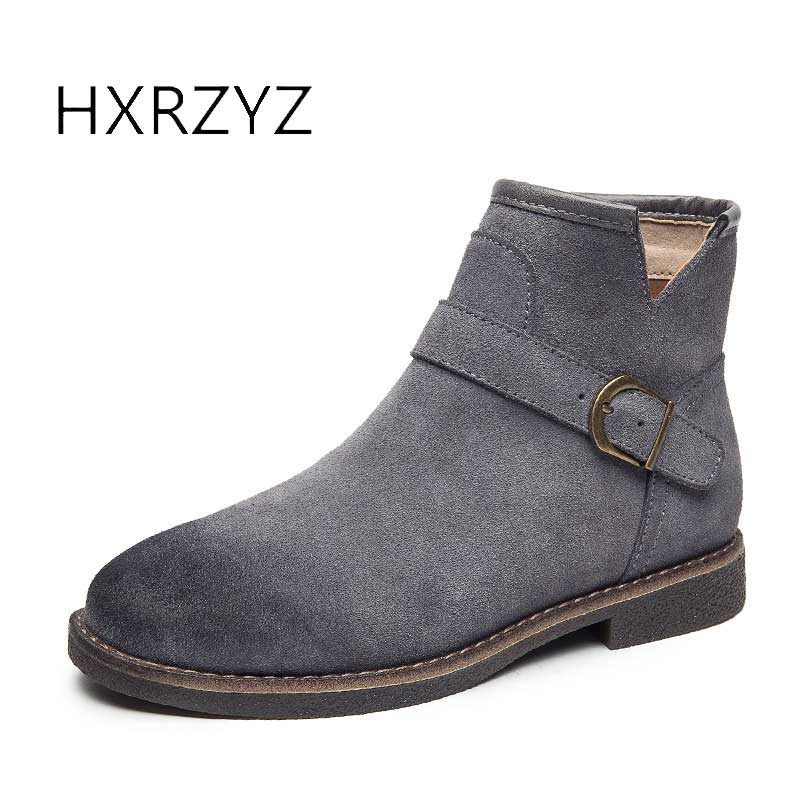 HXRZYZ Suede ankle boots women buckle genuine leather boots spring/autumn ladies shoes women rubber bottom slip-resistant boots<br>