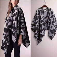super large size leopard grain printed woman's fashion pashmina poncho cloak blanket grey brown 128x138cm