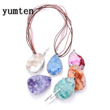 Yumten Natural Crystal Big Pendants Necklace The Geode Clusters Crystal Buds Ribbon Cave Jewelry Chocker Chaveiro Bijoux Femme