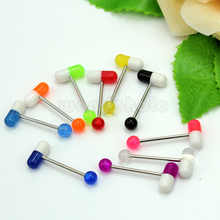 Wholesale Multicolor 10PCS Mixed Pill Shape Metal Ball Barbell Tongue Rings Bar Piercings Body Jewelry Accessory New Fashion(China)