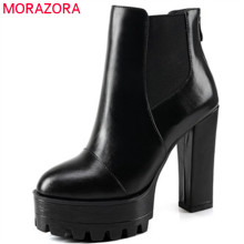 MORAZORA Plus size 34-44 ankle boots for women genuine leather boots top quality high heels shoes fashion boots solid zip(China)