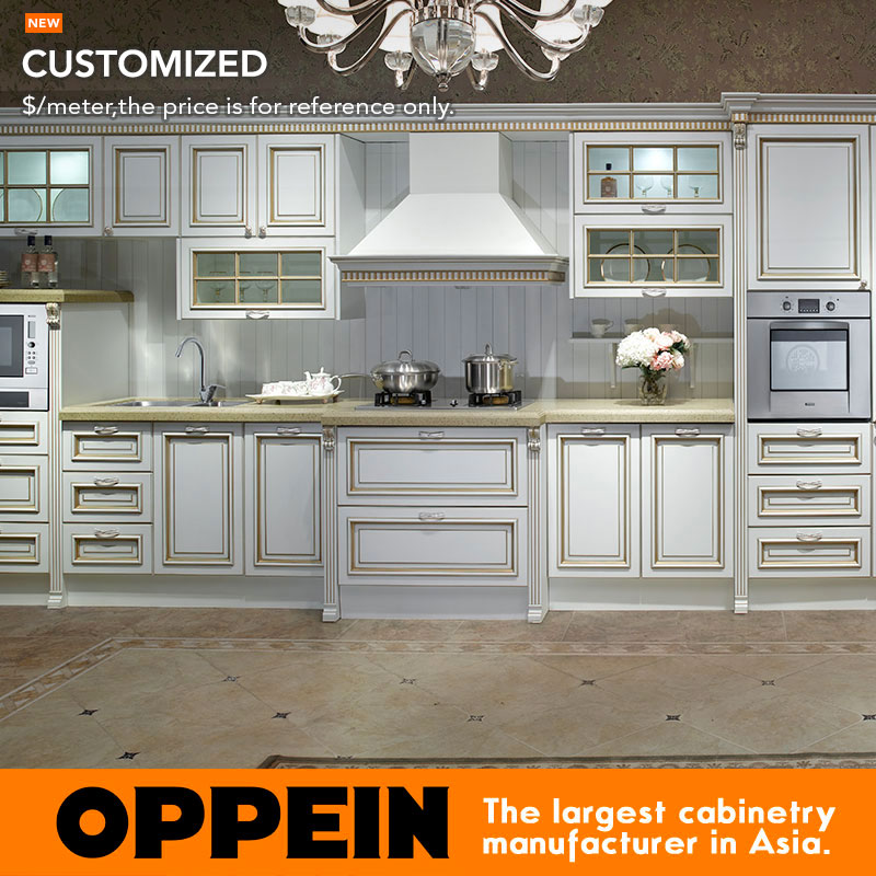 Euro Antique Line White MDF Modular Kitchen Cabinets (OP13-264)(China (Mainland))