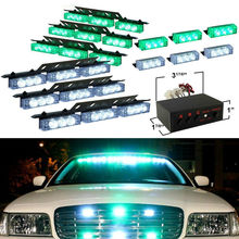 Super Bright Car Vehicle 12V 72 LED Green&White Warning Emergency Light Bar Dash Flashing Strobe Lamp