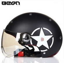 motocross black half face Helmet for men, women lover BEON B103 motorcycle MOTO electric bicycle safety headpiece
