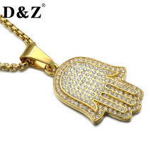 D&Z Hiphop Gold Color Amulet Fatima Hand Necklace Stainless Steel Paving Rhinestone Hamsa Hands Pendants & Necklaces Jewelry(China)