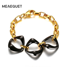 Meaeguet Elegant Women Bracelet Stainless Steel Ceramic Gold Tone Chain Strand Bracelet Accessories Jewelry