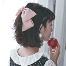 Quality Big Large Beautiful Girls' Silk Bow Barrette Hair Clips Women Hair Accessories(China)