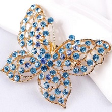 Assorted Colors Crystal Rhinestones Zinc Alloy Butterfly Brooches for Women