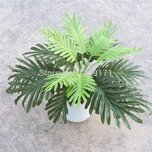 50cm 18 Leaf Silk Artificial Phoenix Coconut Sago Palm Plant Tree Wedding Home Office Furniture Decor no Vase Green(China)
