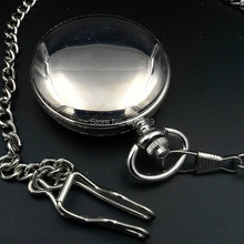 20PCS A LOT Brand New Antique Style Silver Tone Double Open Skeleton Pocket Watch W/Chain ship with tracking number H109