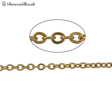 DoreenBeads 304 Stainless Steel Link Cable Chain Findings Gold color 1.5x1.2mm, 1 M