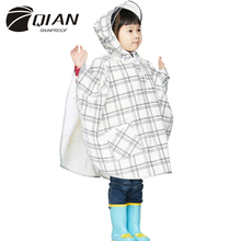 QIAN RAINPROOF Impermeable Children Raincoat PU Transparent Big Brim Rain Coat Waterproof Kids Cloak Rainwear Rain Gear Poncho
