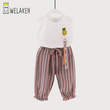 weLaken 2017 New Summer Girls Clothing White FashionT-shirt + Striped Pants 2pcs  Kids Apparel Casual Children's Sets Outerwear