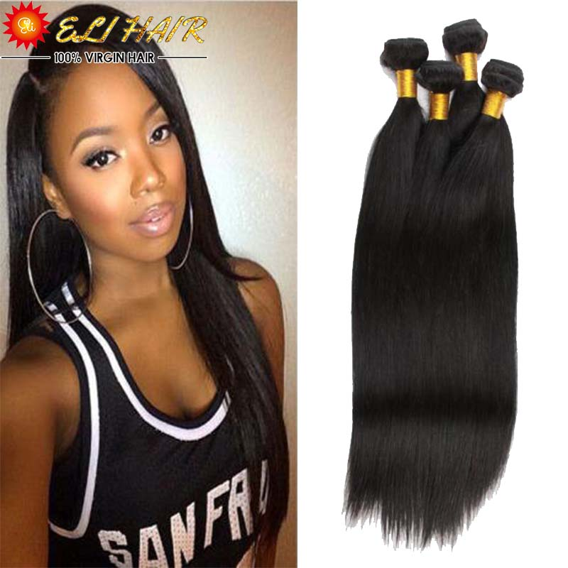 Best Quality 8A Brazilian Virgin Hair Straight With Free Closure And Bang Eli Queen Brazilian Human Hair Weave Bundles 4Pcs Lot<br><br>Aliexpress