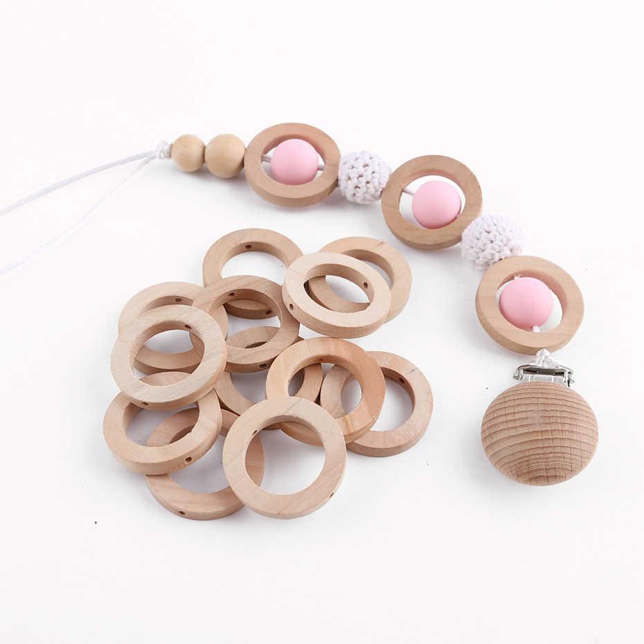 20Pcs Multifunction DIY Unpainted Baby Teether Rings Wooden Teething Rings