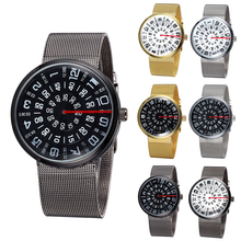 1pc promotion rotary digital personality man male watch clock gift quartz wristwatches steel belt table student fashion cute H5