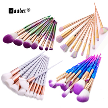 6 12 10pcs/set Thread Rainbow Spiral Handle Makeup brushes Beauty Cosmetics Foundation Blending Blush Make up Brush tool Kit Set