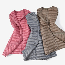 Autumn Winter 초 빛 Down Vest Women 방풍 민소매 경량 긴 양복 Warm 패션 Female Vest Plus Size(China)