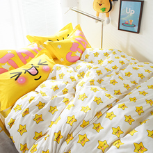 100% Cotton smile fabric quilt bedding sets 4/5pcs woven cute yeloow comforter duvet cover queen full size kids child bedspreads